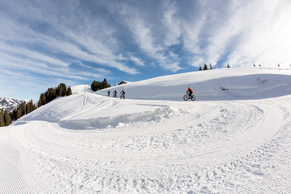 Riders during the 2016 Snow Bike Festival, Gstaad, Switzerland.